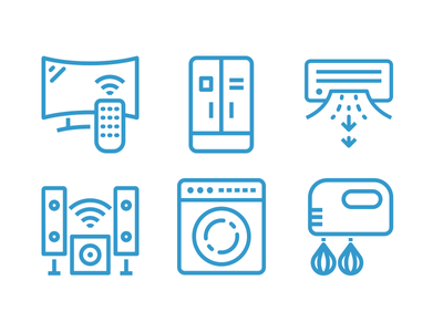 Home Appliance Line Icons icon set icons line appliance home speakers washing machine tv air condition fridge