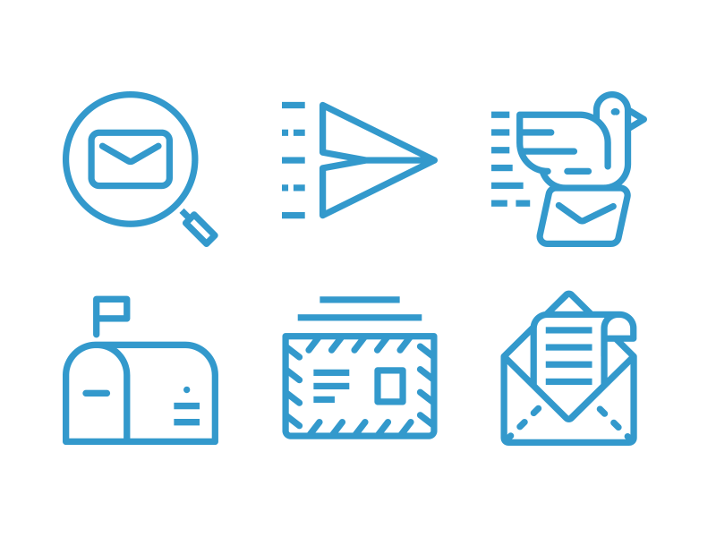 Contact Form Line Icons vector icon set icons line mailbox mail newsletter e-mail contact