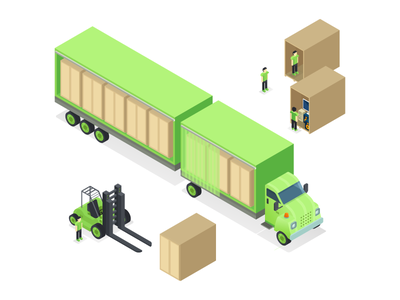 Isometric Moving Company Truck icons vector design custom boxes man maps isometric icons truck