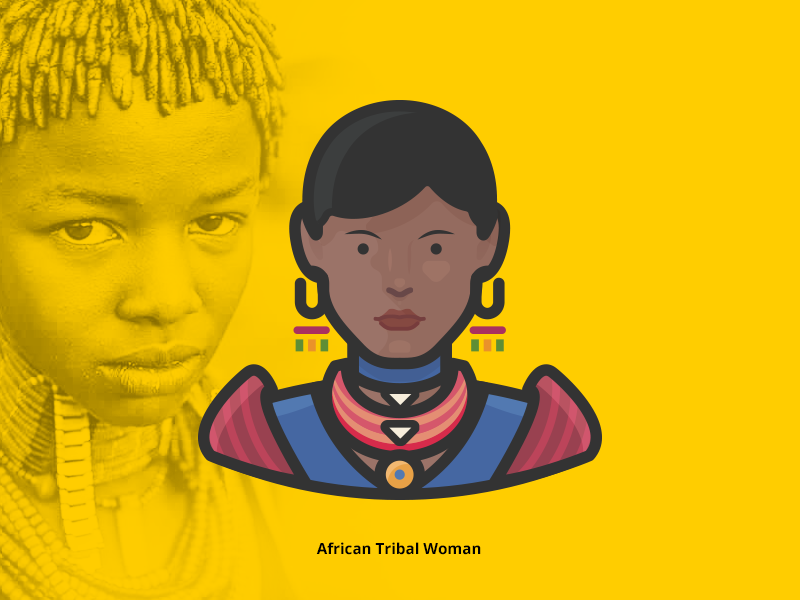 African Tribal Woman Avatar Icon