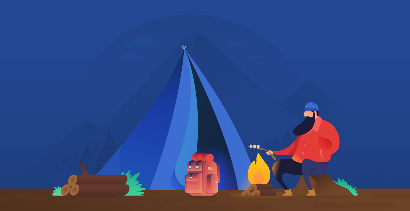 Dribbble Camping Illustration Background Png By Ramy Wafaa