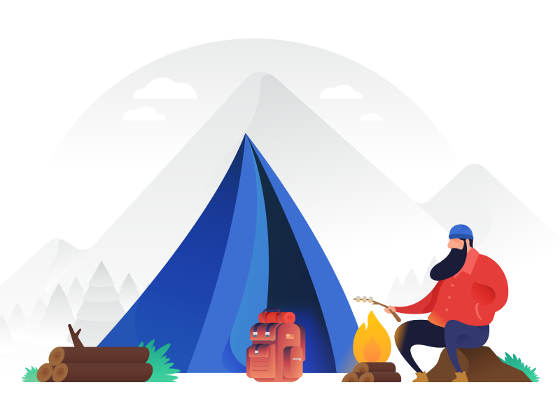Camping Vector Illustration wilderness color vector illustration tent wild camping
