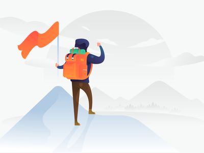 Success vector illustration man field mountain camping climber illustration vector success