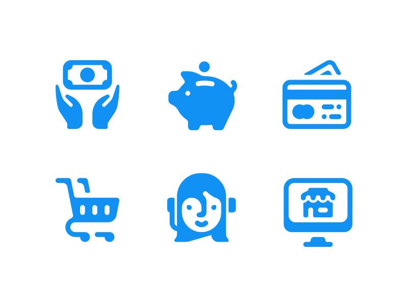 Roundies finance economy icons