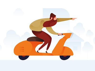 Scooter Man Illustration scooter bike man hipster race illustration vector color ui banner