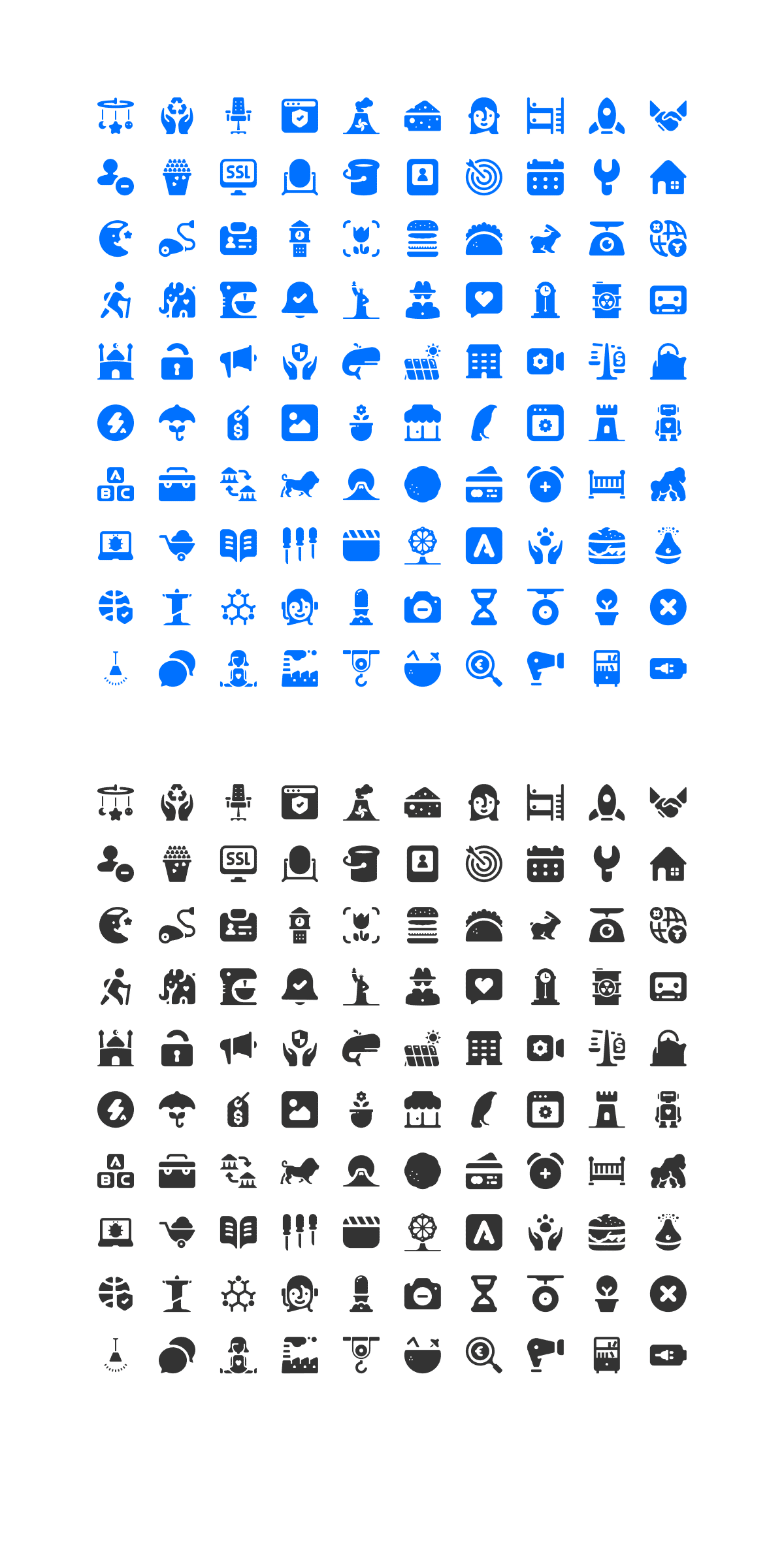 100 free solid icons preview