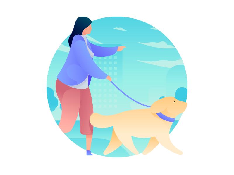 Dog Walker Illustration gradient icon illustration vector city woman walker trainer dog