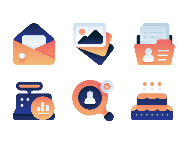 Gradient Minimal Icons icon set custom business medical color icons mini minimal gradient