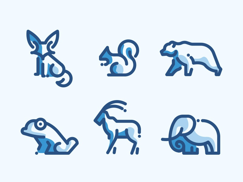 Animals Line Icons Duo Tone outline filled blue duo icon pack icons line animals