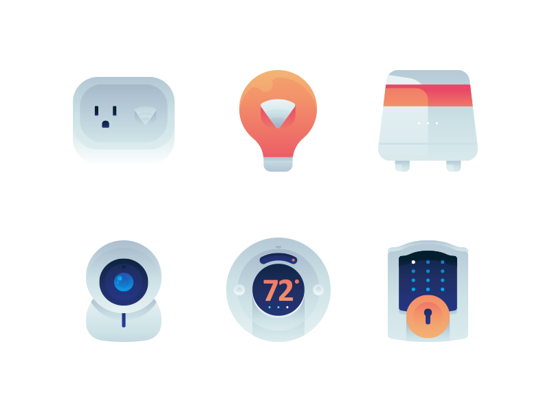 Smart Home Devices Icons gradient icon set icons devices electronic homekit home smart