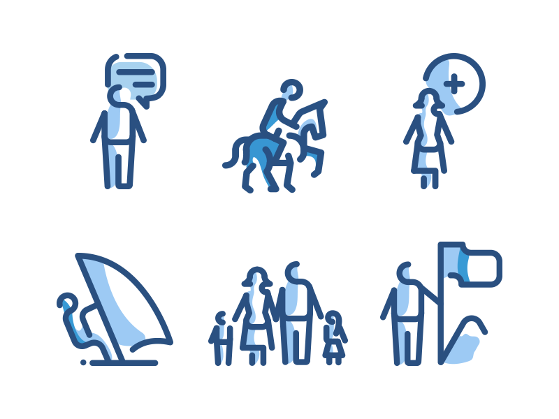 People Line Icons blue communication users avatar icon pack icons line people