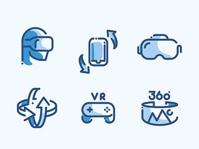 VR AR Line Icons line icon set icons augmented oculus virtual reality ar vr