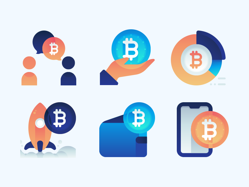 Bitcoin Icons color icon set vector ui gradient illustrations icons bitcoin