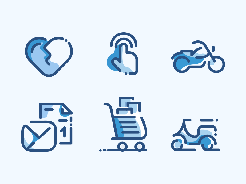 Line Icons Duo Tone touch mail message love shopping cart bike tone blue icon set icons line