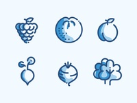 Fruits And Vegtables Line Icons