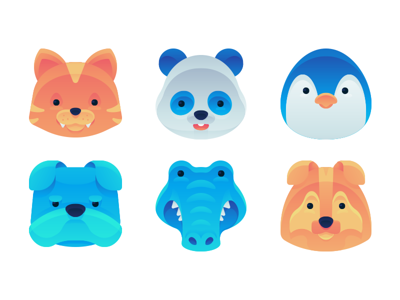 Gradient Animal Icons panda dog cat color symbol head vector gradient icon mascot animals