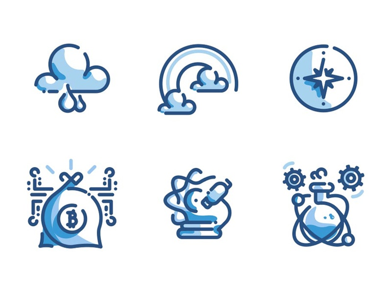 1000 Line Icons Duo Tone Pack blue icon pack compass research science bitcoin cloud icons line
