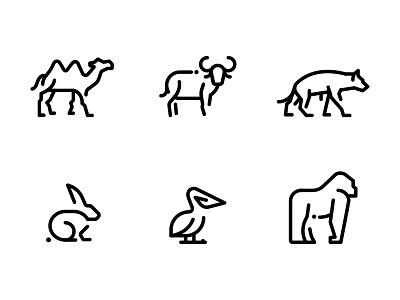 Animals Line Icons Pack crisp pixel perfect monkey bunny outline vector pack icons line animals