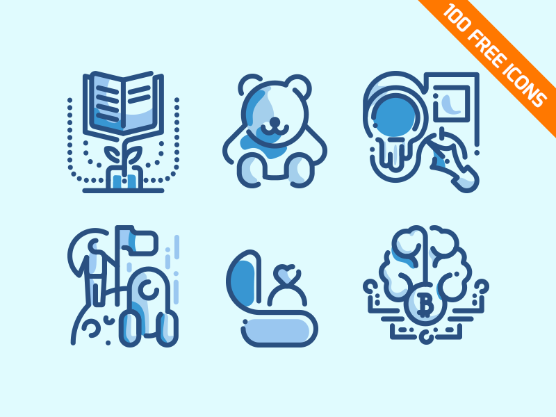 100 Free Line Icons Pack blue vector outline line download set pack icons free