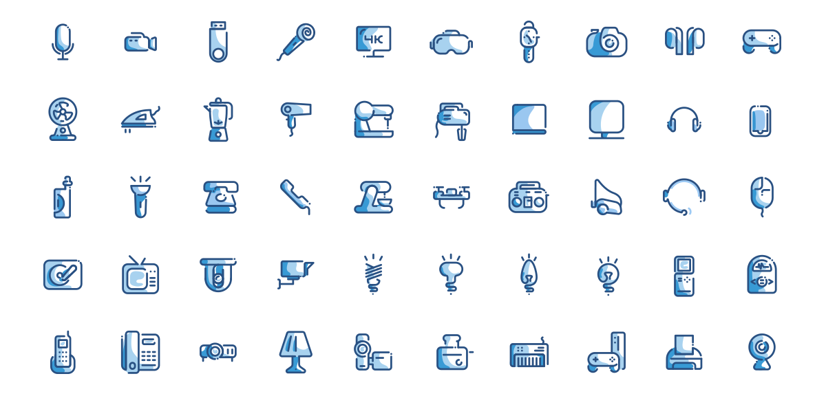 Electronic devices set line icons