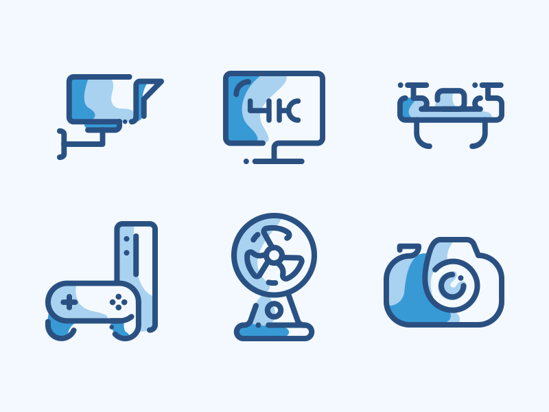 Electronic Devices Line Icons set game fan drone screen camera devices electronic icons line