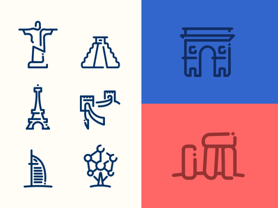 World Monuments Minimal Line Icons