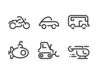 Transportation Minimal Line Icons