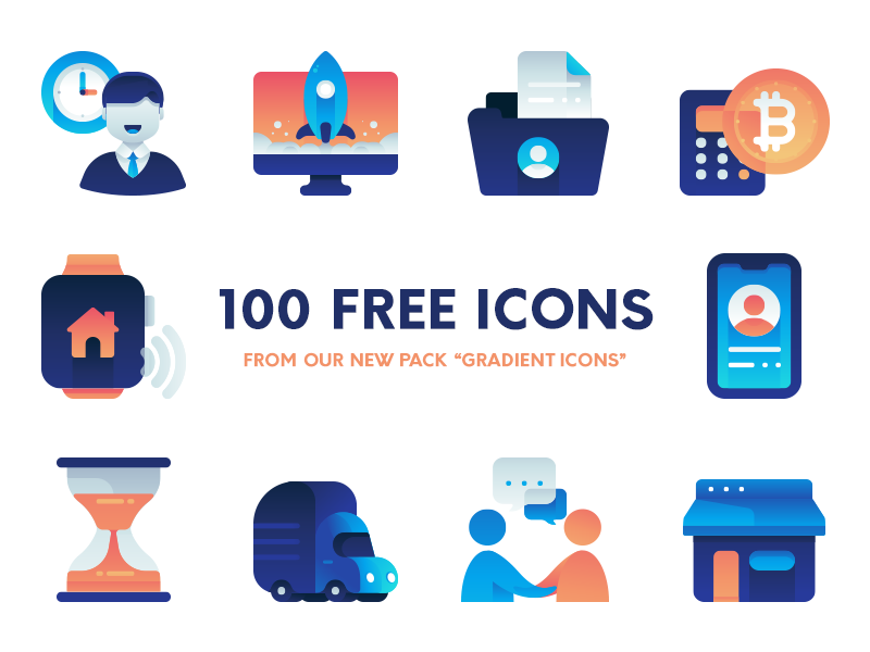 Gradient Icons Pack Freebie web startup business set icon vector freebie download free pack icons gradient