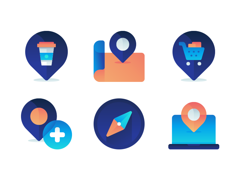 Map And Navigation Icons gradient map icon location pin marker navigation map vector ui icon set flat icons