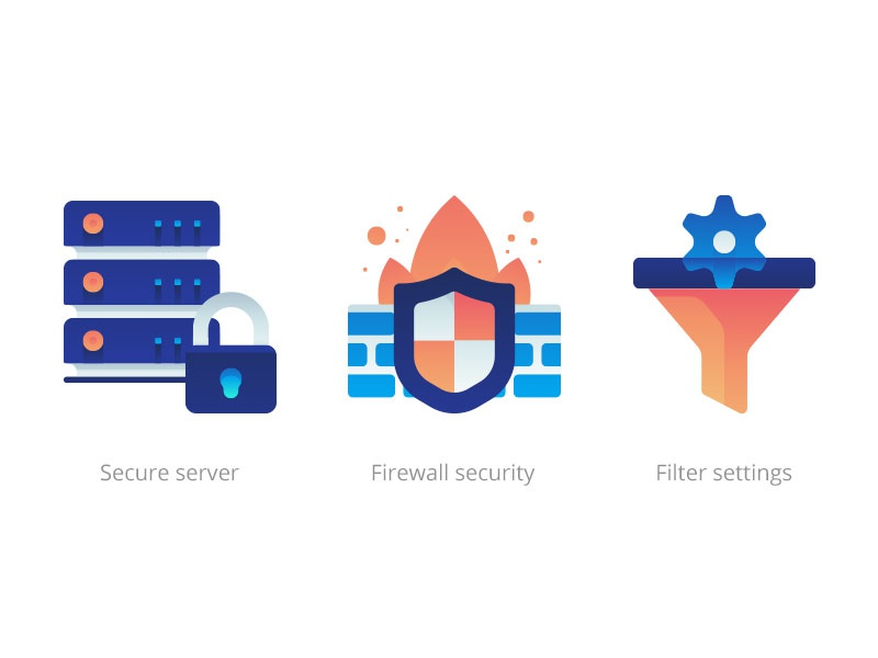 Internet security gradient icons