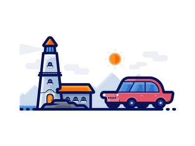 Light House - Travel Icons gradient outline illustration clean detailed colors filled outline filled icon set vector car travel icon light house