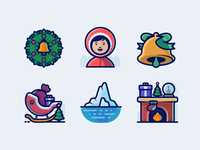34 Winter And Christmas Icons Set