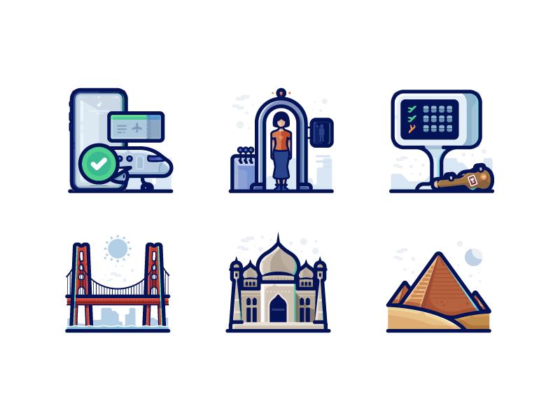 Travel Detailed Icons line flight airport monuments world taj mahal usa pyramids icons pack illustrations icons travel