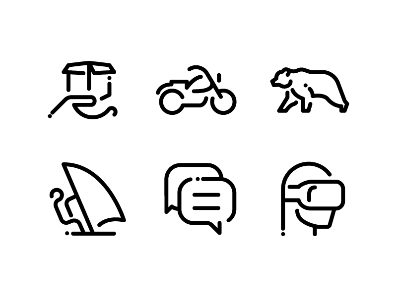 1000 Minimal Line Icons chat delivery logiditcs sports animalss virtual reality vr minimal outline icons icon set line icon