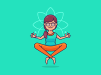 Yoga Hipster Girl Character Design