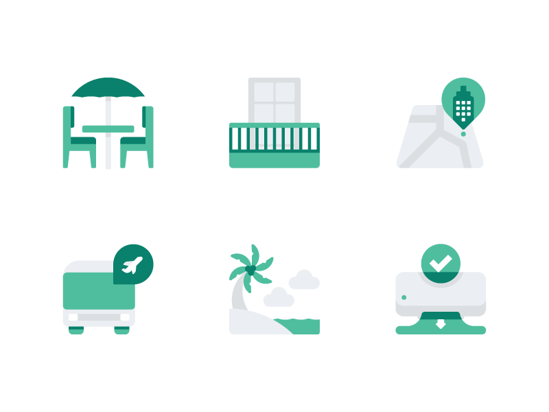 Hotel Facilities Accent Icons beach website icons navigation map air conditioner shuttle dining hotel flat icon set vector icon icons