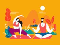 Yoga Practice Man And Woman Scene Illustration