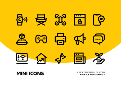 Mini Icons Pack icon set small outline stroke line pixel perfect vector icon minimal icons