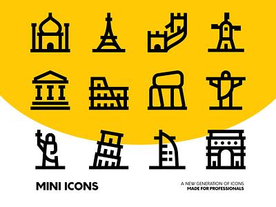 Minimal Travel Icon Set travel mouments world outline stroke bold line application website figma vector iconset icons icon minimal