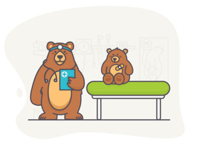 dr. grizzly insurance animal cub stethoscope bandaid office doctor medical healthcare fjord illustration bear
