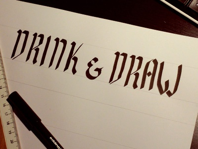 drink & draw calligraphy type lettering