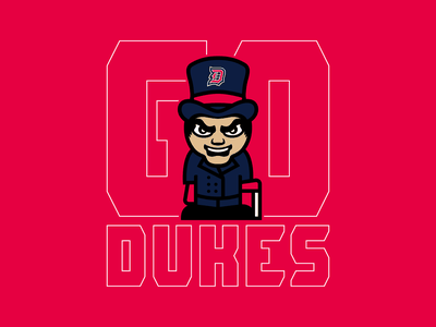 Go Dukes - Duquesne Volleyball sports volleyball pittsburgh cartoon mascot cane suit duke shirt logo dukes duquesne
