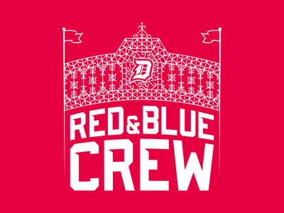 Red & Blue Crew - Duquesne Dukes football logo football basketball sports fan pittsburgh steel iron arch gates section student crew blue red and blue red dukes duquesne