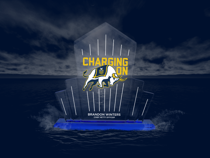 Charging On - Brandon Winters mascot logo award trophy lightning bolt lightning command chargers charge bull usa us navy