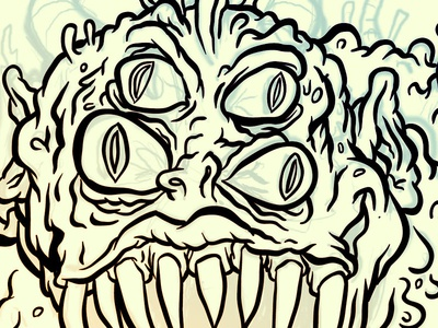 Line Drawing Monster : Monster doodle by jason gammon dribbble