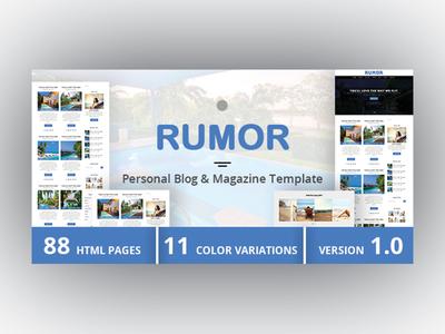 RUMOR - Personal Blog & Magazine Template video blog responsive template responsive photo gallery personal blog magazine html template html blog html bootstrap blog template blog