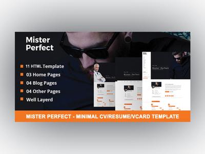 Mister Perfect - Minimal CV/Resume/vCard Template resume template resume responsive portfolio template portfolio personal portfolio onepage personal onepage html template cv template cv html cv
