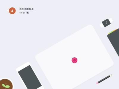 4 Dribbble Invites product interaction ux ui simple shot portfolio player invites icon sketch illustration