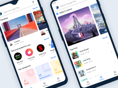 Google Playstore Simplified material design new white clean app fresh design play google trending design personalised store games android focused visual design play store app ux simple ui
