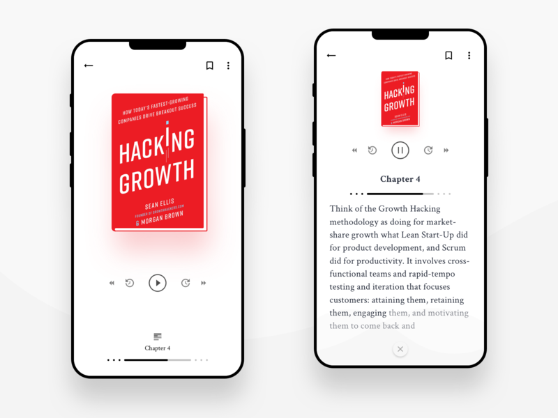 Audiobook With Reader wave white interactive topic reading audible simple design ux mobile app book app android listen player clean ui debut concept audio book